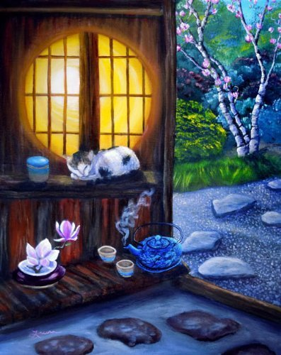 Cat Wall Art Japanese Tea House Garden Moon Window Teapot Zen I