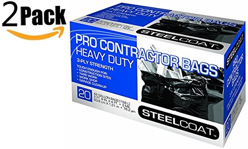 Petoskey Plastics 45 Gal. Heavy-Duty Trash Can Liners, 3-Ply Strength, 3 Mil,, 20-Count, Pack of 2 by Unknown