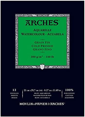 Arches - Papel de acuarela, bloc 12 hojas engomado 1 lado, grano fino, 300 g/m², A4