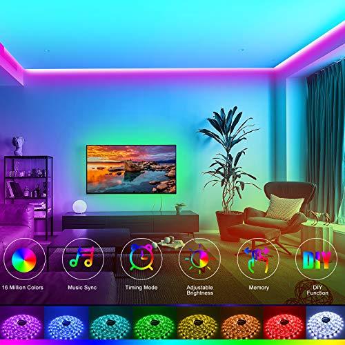 HRDJ Led Strip Lights 65.6ft, Music Sync Color Changing Led Lights for Bedroom 5050 SMDRGB Led Light Strips with Remote App Control Led Lights for Room Party