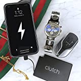 Clutch Charger Ultra Thin and Small Power Bank With Attached Cable, High-Speed Portable Smartphone Charger Compatible with iPhone, iPad and AirPods