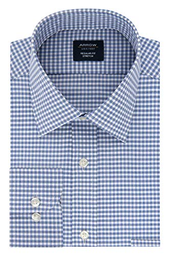 Arrow Men's Dress Shirt Regular Fit Stretch Check, Ink Blue 17