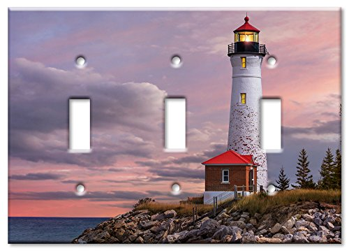 Light American Art Three (Art Plates Brand Triple Toggle Switch / Wall Plate - Lighthouse Of MI)