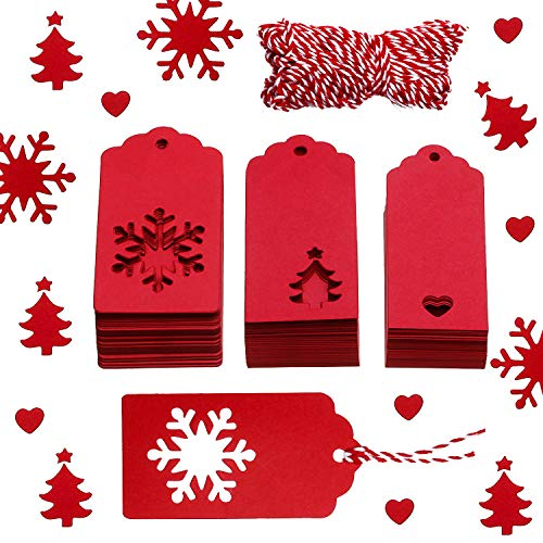 Leinuosen 150 Pieces Christmas Gift Tags Kraft Gift Tags Snowflake, Heart and Christmas Trees Shapes with 20 Meters Twine for DIY Arts and Crafts, Christmas and Holiday (Red)