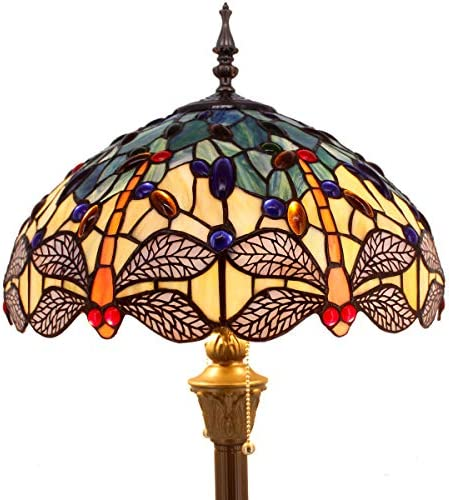 Tiffany Floor Lamp Standing Light W16 H64 Inch Green Yellow Dragonfly lampshade 2E26 Antique Base for Bedroom Living Room Reading Lighting Table S128 WERFACTORY