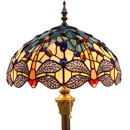(Tiffany Floor Lamp Standing Light W16 H64 Inch Green Yellow Dragonfly lampshade 2 Light Antique Base for Bedroom Living Room Reading Lighting Table Set S128 WERFACTORY)