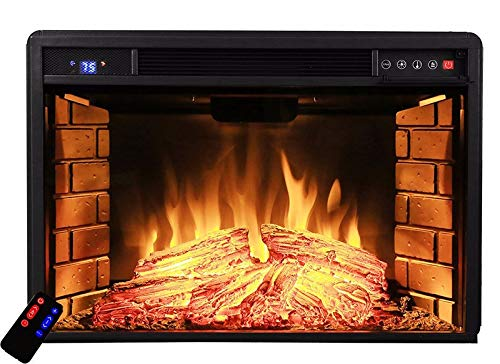 """XtremepowerUS 33"""" Curved Ventless Electric Heater Fireplace Insert Wood Fireplace Wall Mounted Adjustable Temperature with Remote Control"""