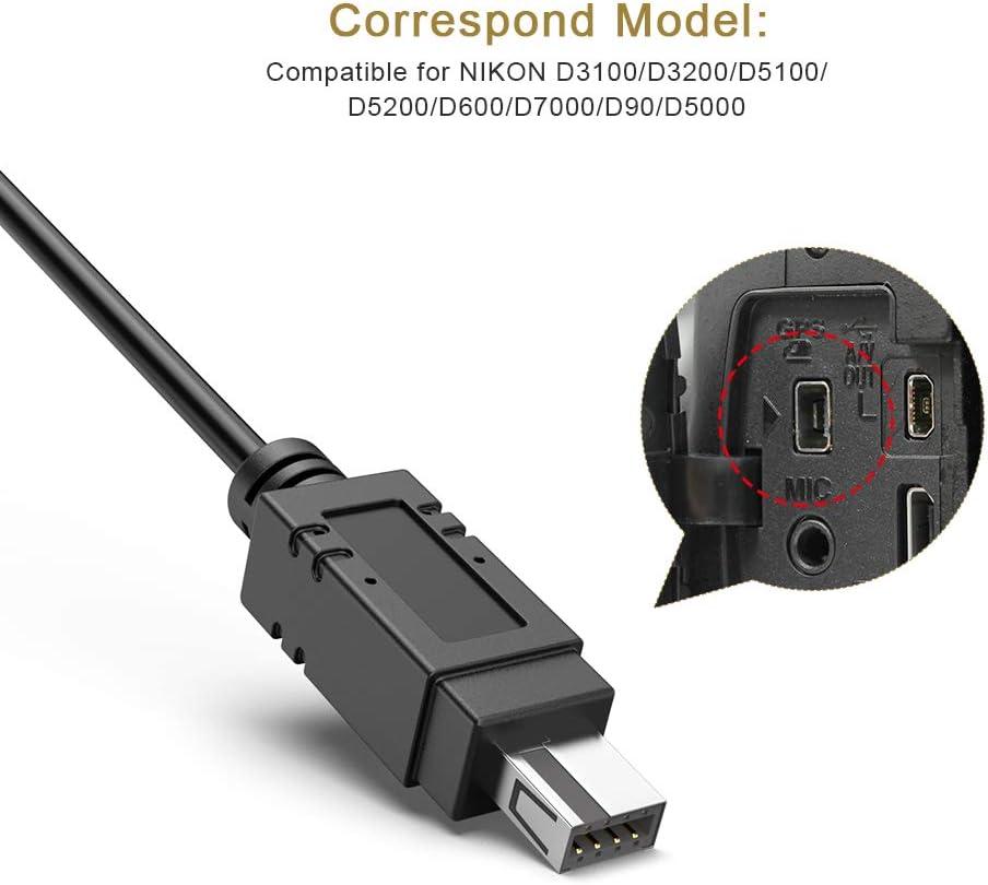 UTEBIT D/éclencheur T/él/écommande C/âble de 140cm Obturateur Remote Control Remplace MC-DC2 D/éclencheur Distance Appareil Photo Noir Compatible pour NIKON D3100//D3200//D5100//D5200//D600//D7000//D90//D5000