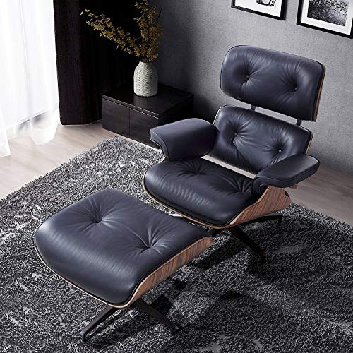 Modern Sources - Mid Century Recliner Lounge Chair with Ottoman Real Wood Genuine Italian Leather Eames Replica (Black/Palisander) ()