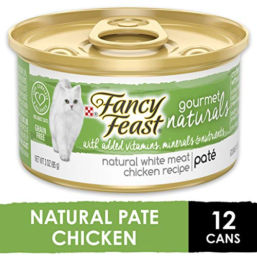Purina Fancy Feast Grain Free, Natural Pate Wet Cat Food, Gourmet Naturals White Meat Chicken Recipe - (12) 3 oz. Cans (Natural White)