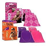 KT Tape PRO Precut 60-Strip Synthetic Kinesiology Tape Three-Roll Bundle - Pink Argyle, Hero Pink, Epic Purple
