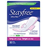 Stayfree Ultra Thin Super Long Pads With Wings 32-Count (Pack of 6)