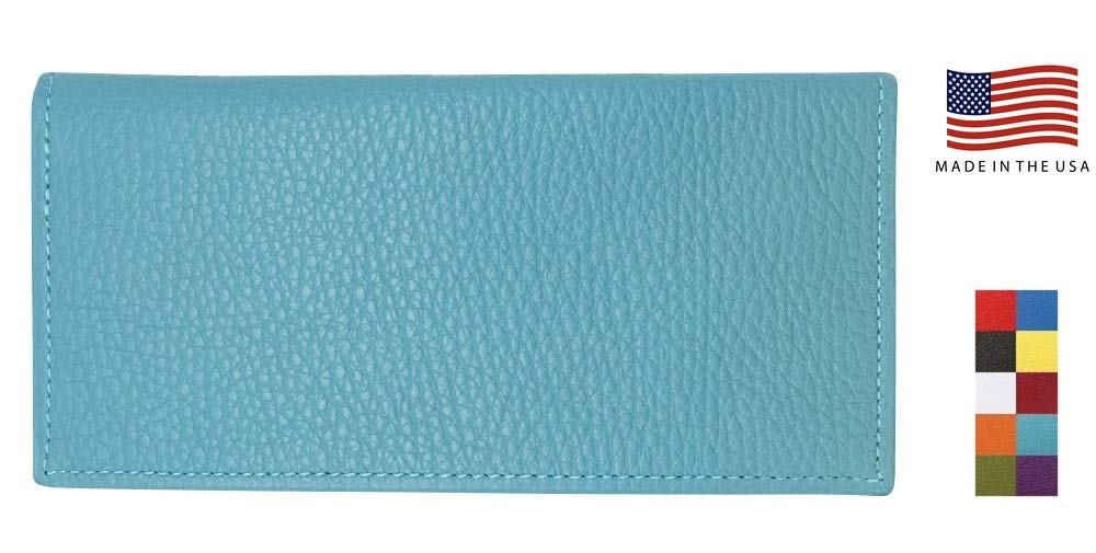 Teal Genuine Colorado Leather Collection Checkbook Cover – Factory Direct – Made in USA by Real Leather Creations - Prime Birthday Gifts for Women or Men FBA639