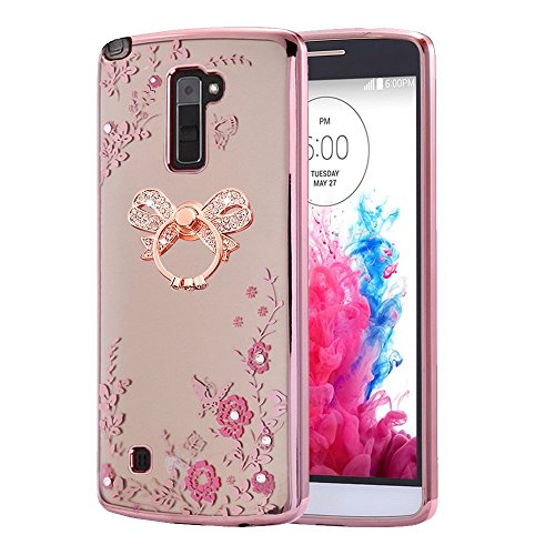 (LG Stylo 2 Case ,LG Stylo 2 plus Case,Spritech Slim Soft Gel Clear Bling Case Rose Gold Metal Plating Bumper Cover (Rose Gold Bow Ring Stand))