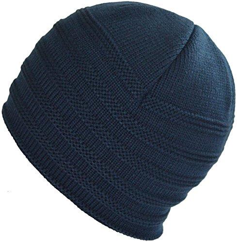 BaronHong Skull azul Diario Beanie Stripes Cap Hat Slouchy de oscuro para calientes terciopelo los hombres rwrXq0O
