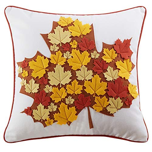 Cassiel Home Fall Leaves Thanksgiving Day Thanksgiving Throw Pillow Covers 18x18 Harvest Pillow Covers Fall Throw Pillow Covers 18x18 Embroidered Autumn Pillow Covers 18x18inch 45x45cm ()