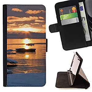 For Samsung Galaxy Core Prime - Sunset Beautiful Nature 47 /Funda de piel cubierta de la carpeta Foilo con cierre magn???¡¯????tico/ - Super Marley Shop -