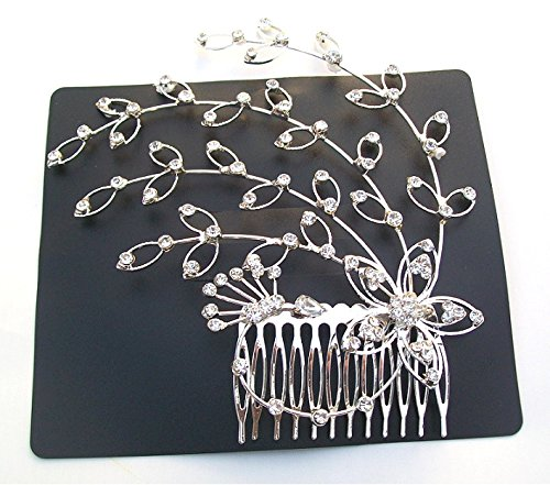 Silver Crystal Diamante Bridal Wedding Hair Accessories Side Flower Comb Tiara Fascinator Dress