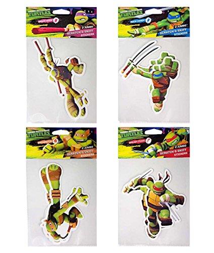 Teenage Mutant Ninja Turtle Smickers Jumbo Smicker Set: Michaelangelo (Mickey), Leonardo (Leo), Raphael (Raph), Donatello (Donnie)- 8 Jumbo Scratch & Sniff 6
