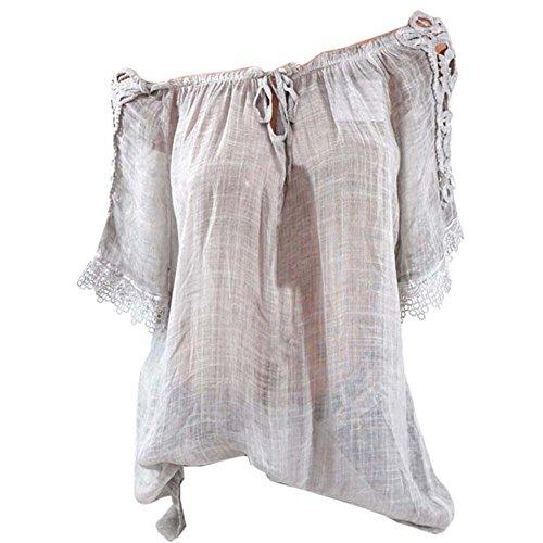 Lache Casual Nue Haut 2 Shirts Tunique Courtes Gris Tops Femme Chemises T paule Manches Blouses qx7Zwg5