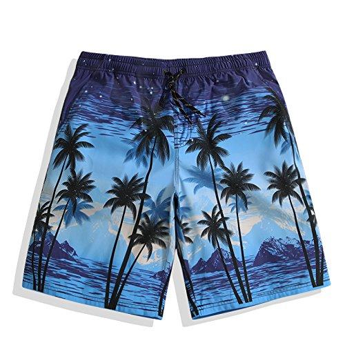 OME&QIUMEI Fast Dry Beach Pants Men Loose Beach Shorts Hosen Surf Trunks Blumen