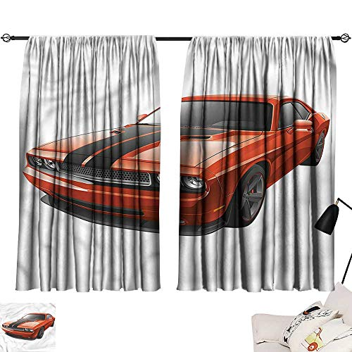 Jinguizi Darkening/Blackout Darkening Curtains Boys Room,Modern Muscle Car Exotic,Printed Curtain Door Panel W55 x L39