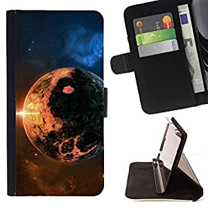 DEVIL CASE - FOR Samsung Galaxy S6 EDGE - Apocalypse Doomsday Planet Fire Sun Star Cosmos - Style PU Leather Case Wallet Flip Stand Flap Closure Cover