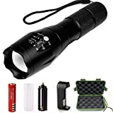 ONSON Outdoor Tactical Flashlight,Ultra Bright LED Handheld Portable Flashlights,Rechargeable 18650 Battery and Charger Included,Water Resistant Torch with Adjustable Focus and 5 Light Modes