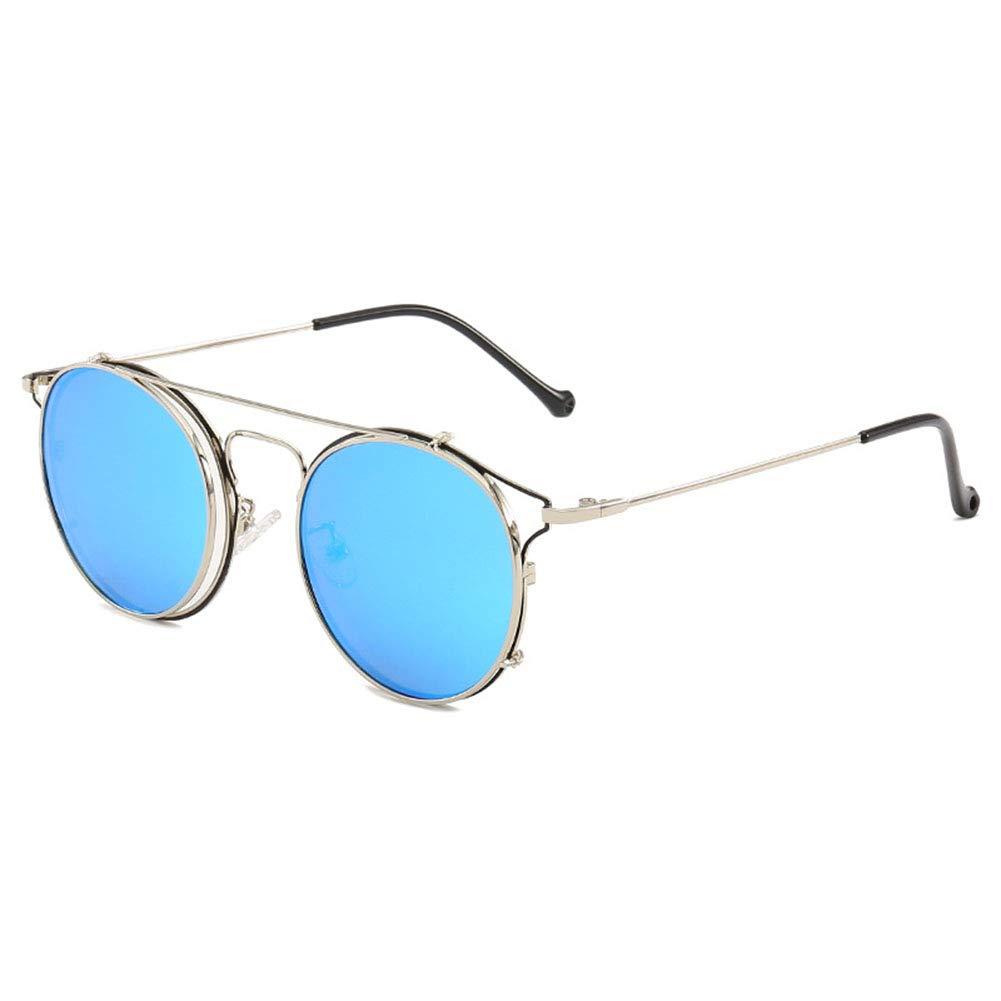 YH7754 Vintage Round Glasses Frame Non-Prescription Clear Lens Eyewear Unisex Clip-on Lenses Sunglasses UV400 Protection