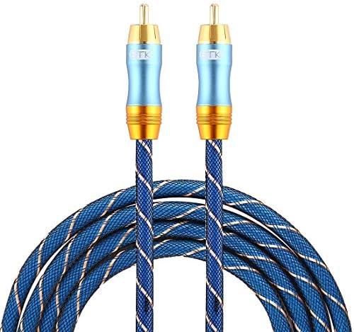 HDJ EMK 8mm RCAオス-6mm RCAオス金メッキプラググリッドナイロン編組オーディオ同軸ケーブル、スピーカーアンプミキサー用、長さ:2m(青) (Color : Blue)