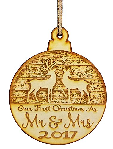 First Christmas Wedding Ornament (Our First Christmas Married Mr & Mrs 2017 Christmas Ornament - Our First Christmas as Mr. & Mrs.)