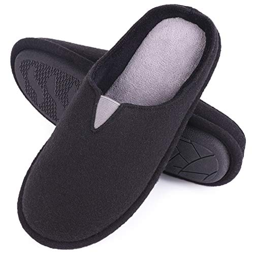 rsey Knit Memory Foam Slippers Terry Cloth House Shoes with Stretchable Band (9-10 M US, Black) ()