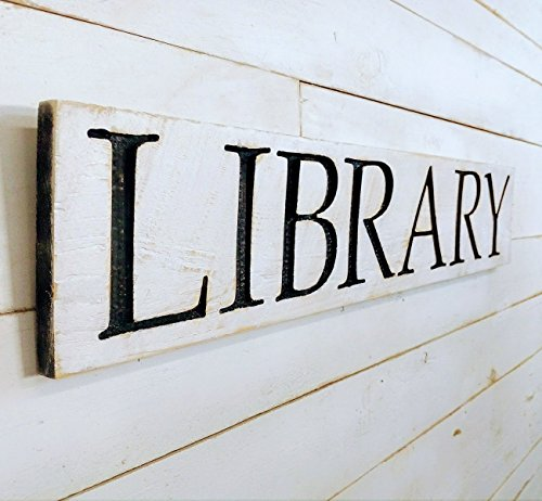 Carved Library - LIBRARY sign 40