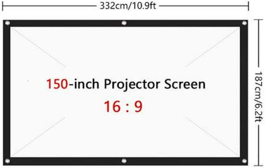 80 Inch 16:9 HD Foldable Anti-Crease Portable 4K Projection Screen for Home Theater Indoor Outdoor Movie Screen Support Double-Sided Front and Rear Projection Projector Screen