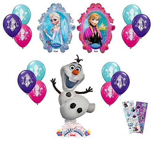 Disney Frozen X-Large Mylar Balloons Olaf Anna Elsa with 12 Ct - 4 of Each Color Latex Balloons - 14 piece Decorating Kit]()