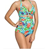 YeeATZ Fresh Sexy Floral Print Patterned Retro High Waist 2 Pieces Swimsuit