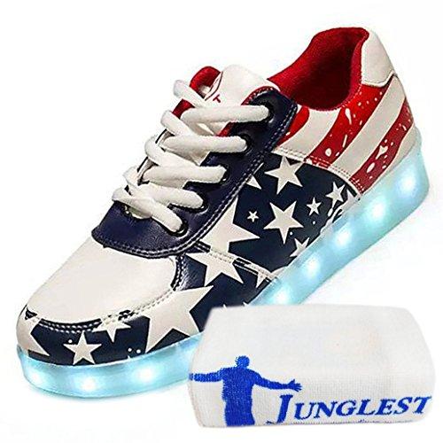 (Present:kleines Handtuch)JUNGLEST® Unisex Damen Herren LED leuchten Glow Schuhe USB Lade Luminous Flashing Schuhe USA Stern Flagge Turnschu Rot