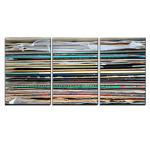 - wall26 - 3 Piece Canvas Wall Art - Close Up of Records Stack - Modern Home Decor Stretched and Framed Ready to Hang - 16