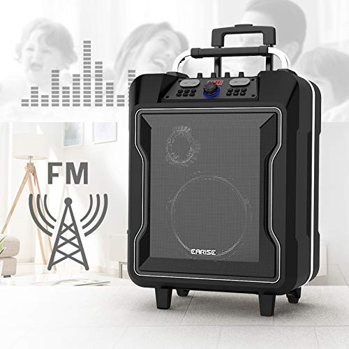 EARISE M60 Audio Portable PA System Bluetooth Loudspeaker with 2 Wireless Microphone,10'' Subwoofer, Remote Control, Aux Input, Soft Metal, LED Display, Telescoping Handle, USB Charging & Wheels, Black by Earise (Image #8)