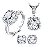 JewelryPalace Cushion 11ct Cubic Zirconia Wedding Halo Solitaire Engagement Ring Pendant Necklace Stud Earrings 925 Sterling Silver Jewelry Set Size 6
