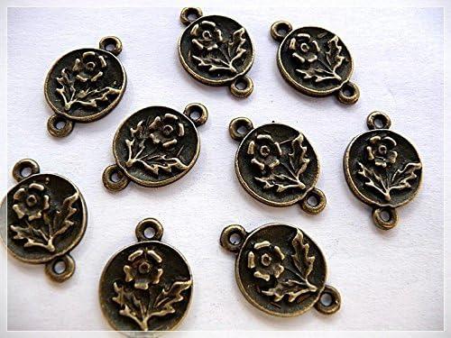 DIY-Schmuck 8 Verbinder als Rose in Antik Bronze von Vintageparts