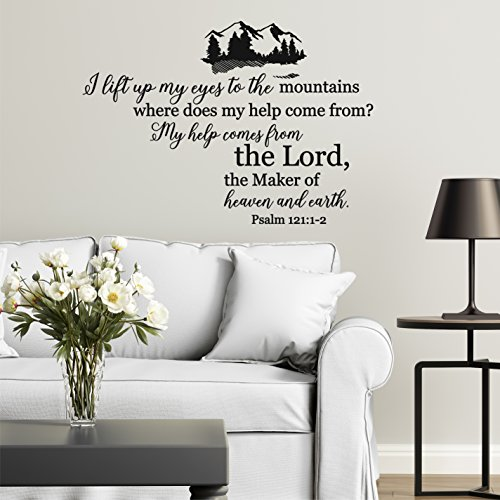 Wall Home Decal Vinyl Sticker Art Psalm 121:1-2 - Look Up to The Hills for Living Room Bedroom Nursery Room ()