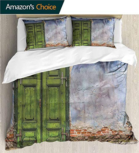 Home Duvet Cover Set,Box Stitched,Soft,Breathable,Hypoallergenic,Fade Resistant Print Quilt Cover Set White Queen Pattern Bedding Collection-Rustic Colored House Old Door (87