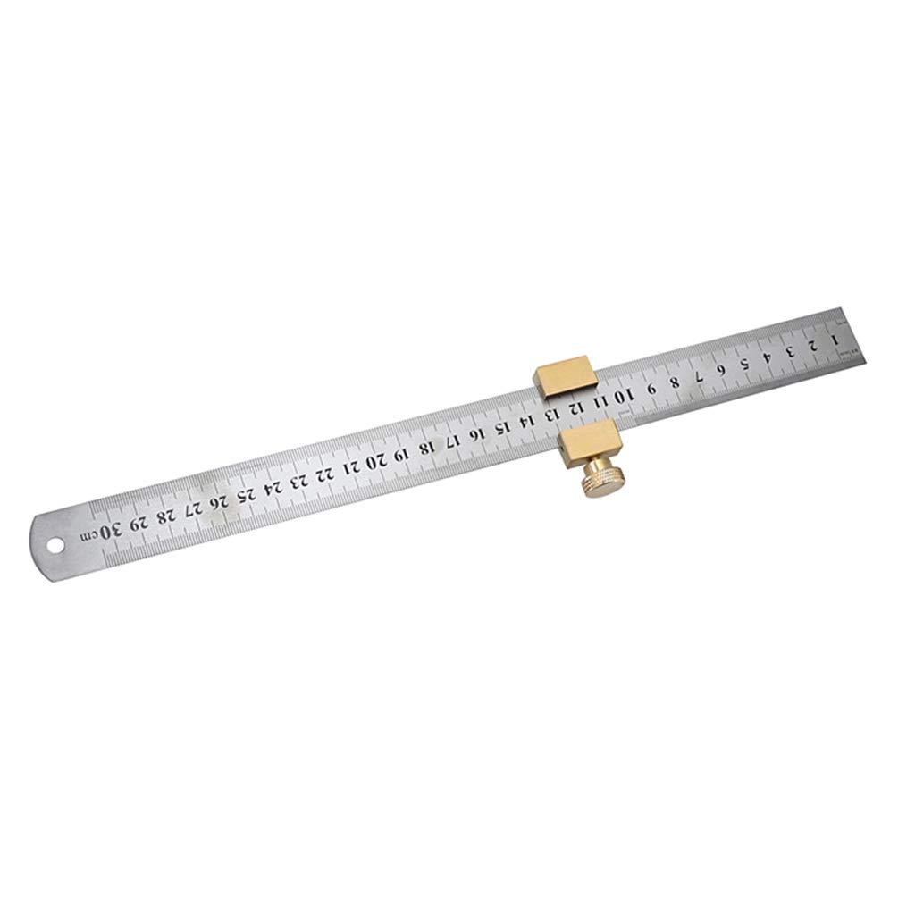 kkboyii Carpentry Positioning Block Durable Locator with Steel Ruler Woodworking Tools Corner Fixed Universal Gauge Brass Line Scriber