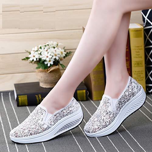 Mujer Glitter Rojo Malla Blanco Zapatos tamaño EU 39 en Trainers Color Rocker Qiusa Sole Slip qvFwv