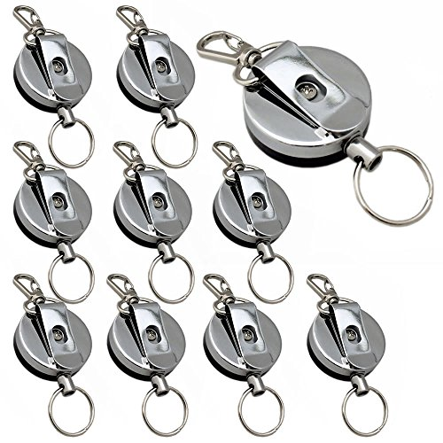 Silver Ebay Rings (AStorePlus Silver Metal Retractable Badge/ID Card Holder Carabiner Reel Clip On Belt Loop Clasp And Key Ring With Keychain Pack of 10)