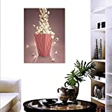 """Modern Fashion Stickers Wall Retro Style Popcorn Art Image Home Cafe Design Kitchenware Cardboard Vintage Cinema Stickers Wall Home 20""""x28"""" Light Red White"""