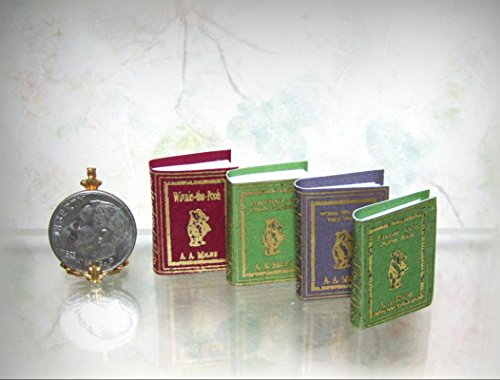 Dollhouse Miniature Set of 4 Winnie the Pooh Books with Blank Pages - My Mini Garden Dollhouse Accessories for Outdoor or House Decor (Page Princess Kit)