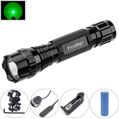 Firstbuy Green Light LED Hunting Light Coyote Hog Pig Varmint Predator LED Tactical Flashlight,Rail Mount and Remote Pressure Switch for Hunting,18650 Rechargeable Battery and Charger Included (Green Flashlight Mount)