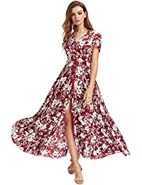 a150daa33be Women Floral Print Button Up Split Flowy Party Maxi Dress